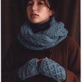冬日溫暖粗針織棒針絞花圍脖手套編織圖解