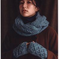 冬日温暖粗针织棒针绞花围脖手套编织图解