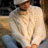 经典渔夫毛衣 女士棒针粗羊毛绞花毛衣