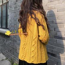 凤梨 从上往下织云朗女士棒针扭花羊毛衫
