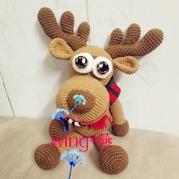 雪妃尔5股牛奶棉钩编大眼萌圣诞驯鹿编织图解