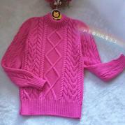 朵拉 仿淘宝款女童棒针菱形麻花羊毛衫