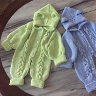萌朵朵 仿外网棒针麻花搓板针婴儿连体衣,附详细教程