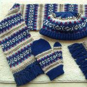 情迷费尔岛提花图案 手编男士棒针提花帽、围巾、手套系列