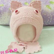 热门编织儿童棒针粉红小兔帽子详细图文教程