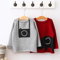 云朗卡通图案儿童棒针插肩袖套头羊毛衫编织视频教程(3-3)相机款