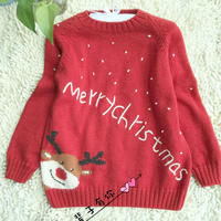 小麋鹿 儿童棒针圣诞小鹿图案套头毛衣