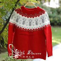 没鼻子的小驯鹿 圣诞红版男童棒针提花毛衣