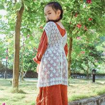 仙度瑞拉 前后两穿可钩亲子款的女童钩针罩衫
