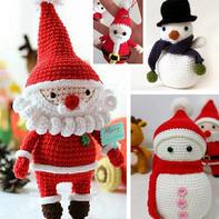 可爱钩针玩偶和挂饰 毛线编织圣诞老人与雪人