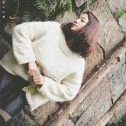 雪霁 慵懒宽松粗针织女士棒针羊驼套头毛衣