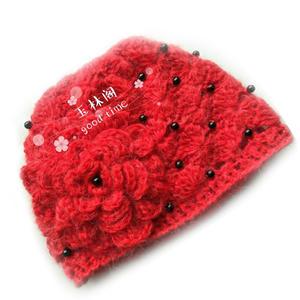 牡丹蓓蕾帽 好看好钩的镶珠钩针花朵帽