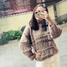 秋意暖 温暖大地色女士钩针直袖款套衫