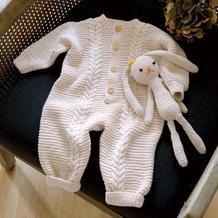 软萌萌婴幼儿棒针羊毛开襟连体衣编织图解(含配套兔子玩偶一枚)