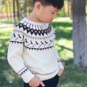 可织父子装的经典泰西范儿男童棒针提花毛衣