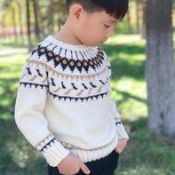 可织父子装的经典欧美范儿男童棒针提花毛衣