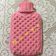 雪妃尔5股奶棉粉粉棒针编织热水袋套(附自制图解及详细编织过程)