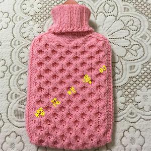 雪妃爾5股奶棉粉粉棒針編織熱水袋套(附自制圖解及詳細編織過程)