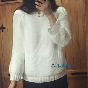 森女系纯白毛衣 云朗女士棒针粗针织羊毛衫