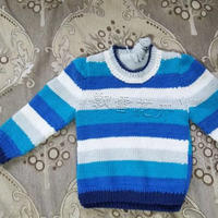 海 零线编织宝宝棒针条纹拼色套头毛衣