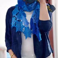 海洋星 魔球羊毛蕾丝钩针拼花围巾