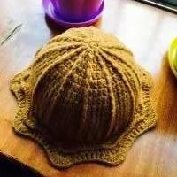 五五毛编织宝宝钩针圆顶帽