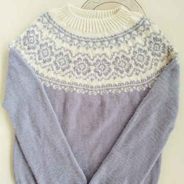 青花瓷 云朗从上往下织密斯棒针圆肩提花毛衣
