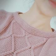 云朗女士棒针菱形花一字领套头毛衣