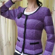 带腰省设计的女士棒针香奈尔款外套开衫
