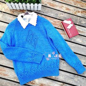 共舞 中性款棒针立体菱形花型羊绒套头毛衣