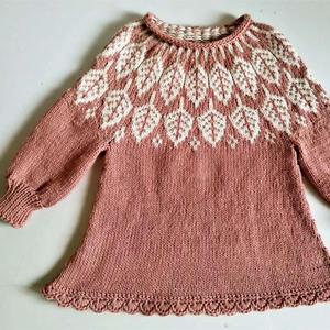 新年战衣 从上往下织女童粉色叶子图案育克毛衣