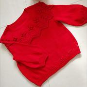 綺童堡 從上往下織4股棉兒童紅色毛衣