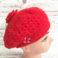 红红火火红色马海女士双层钩针帽子