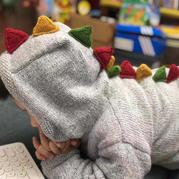 超级可爱的小恐龙开衫 儿童棒针连帽开襟毛衣