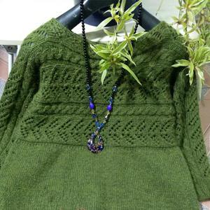 简朴好织密斯棒针横织毛衣