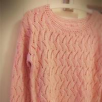 暗香 皮粉色女生棒针镂空亮片毛衣