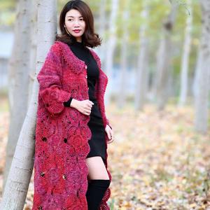 枫叶红 简约大气女士钩针拼花大衣