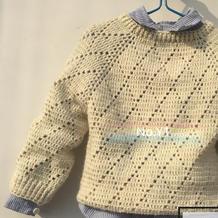 可以编织亲子款的从上往下钩儿童菱格长袖套头毛衣