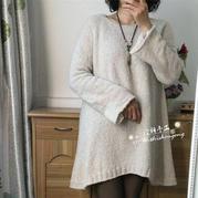 白露 圈圈休闲女士棒针圆摆中长款毛衣