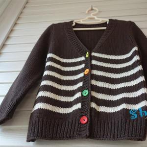 快樂編織機LK150編織條紋兒童v領開衫