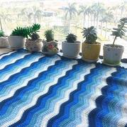 碧波小毯 4股奶棉编织亲肤柔软海洋风钩针宝宝毯