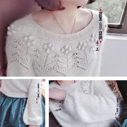 云蓝 仙仙的从上往下织女士棒针圆肩马海毛衣