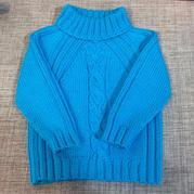 男宝宝棒针高领插肩套头毛衣