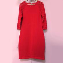 海仙女改版春夏秋冬都适合的从上往下织红色旗袍裙
