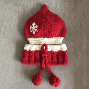 为孙子准备的新年红装 儿童棒针珊瑚绒奶嘴帽围巾套装