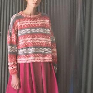 女士棒针巴贝自动提花套头毛衣
