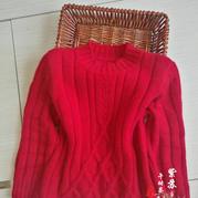 红菱 男童棒针大红套头毛衣