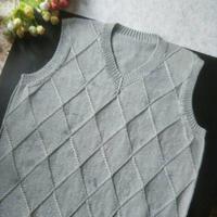 送父亲的第一件毛衣 男式棒针羊毛V领背心