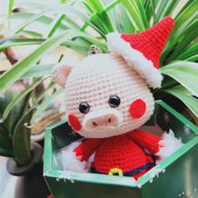 超萌的可爱钩针圣诞小猪