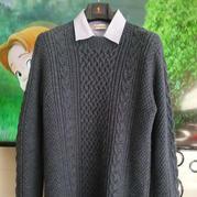 厚朴 毛线球款改版男式粗线绞花套头毛衣